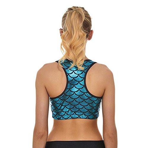 Meijunter Femme Mermaid Échelle de poisson sirène Printing Sport Sous-vêtements LightBlue