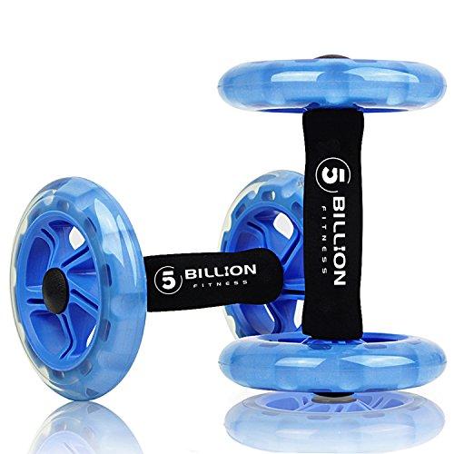 5BILLION Bauchtrainer Roller & Ab Wheel Roller - Doppelt Core Ab Wheel - Workout für Abs, Rücken, Arme, Schultern, Torso, Hüften - Enthält kniend Matte (Blau)