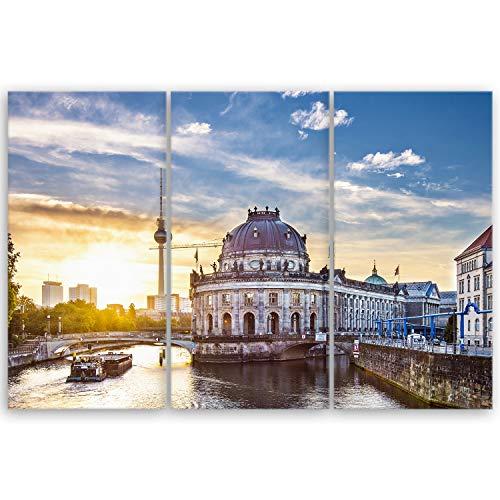 ge Bildet® hochwertiges Leinwandbild XXL - Guten Morgen Berlin - 120 x 80 cm mehrteilig (3 teilig)