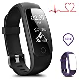 Fitness Tracker with Heart Rate Monitor, MUXI Slim Touch HR Waterproof Activity Tracker Wearable Smart Wristband,Bluetooth Pedometer with Call/SMS Remind for iOS Android Smartphone (Green)