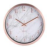 Wanduhr Modern Lautlos, CT Tribe 12 Zoll(30,5cm) Modern Lautlos Wanduhr Uhr Wall Clock mit Marmor Linien   Roségold