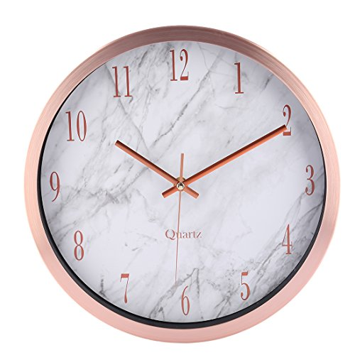 Wanduhr Modern Lautlos, CT-Tribe 12 Zoll(30,5cm) Modern Lautlos Wanduhr Uhr Wall Clock mit Marmor Linien - Roségold