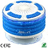 Duschradio Smilin Portable Mini Bluetooth 4.0 Speaker Lautsprecher tragbarer IPX7 Wasserdicht Wireless Funk Lautsprecher Wasserdicht mit Saugnapf LED Freisprecheinrichtung Duschlautsprecher, integriertes Mikrofon für Freisprechfunktion mit FM-Radio Duschlautsprecher, staub und stoßfest (Stil 2)