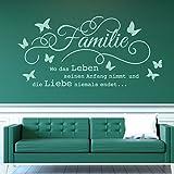 tjapalo® w-pkm176 wandtattoo familie ist wo leben beginnt und liebe niemals endet Wandtattoo Wohnzimmer Spruch (Breite 100 x Höhe 48 cm)