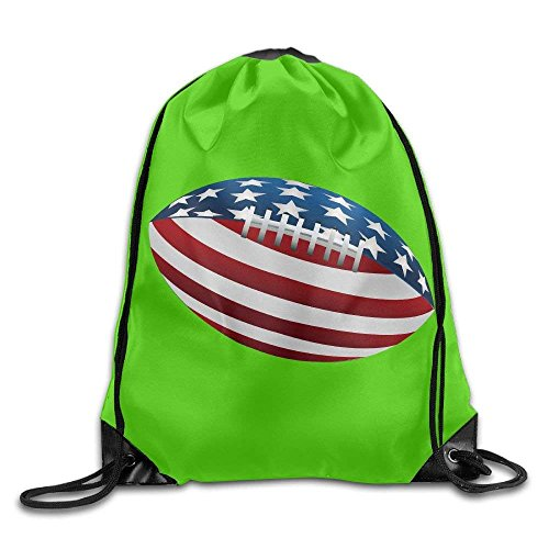 Wellay Rugby American Flag Novelty Beam Mouth Backpack&Drawstring Double Shoulder Bag