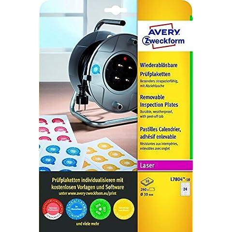 Avery España L7804-10 - Pack de 240 etiquetas adhesivos redondos, de inspección, imprimibles,