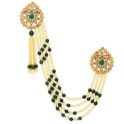 Sanjog Impressive Golden Kundan Stone With Hanging Green&Off-White Pearl Party Brooch For Men/Boys