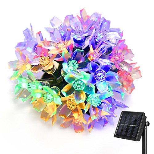 Ankway solar al aire libre luces de cadena de flor (30LED 5M 8 modos)  guirnalda luces solares IP65 impermeable  guirnalda luces led navidad para jardín exterior/interior patio árbol (multicolor)