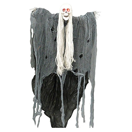 Horror Geist mit LED Augen, Grusel Spruch , bewegt den Kopf 90cm Halloween (Piraten Halloween Sprüche)