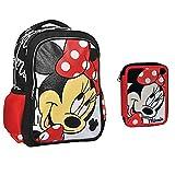Zaino Scuola Grande Disney Minnie + Astuccio 2 Zip Completamente Accessoriato