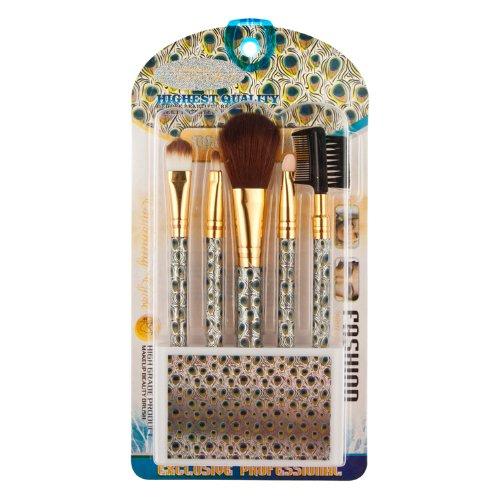 Davidsonne Lot de 5 outil de maquillage Brosse Kit de voyage Motif paon