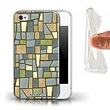 Coque Gel TPU de Stuff4 / Coque pour Apple iPhone 4/4S / Vert/Bleu Design / Carrelage Mosaïque Collection