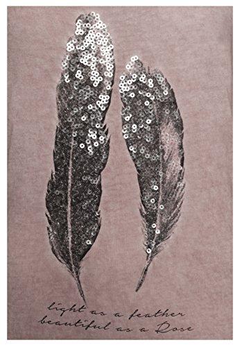 Urban Surface SUBLEVEL Damen Longsleeve mit Pailletten-Federn Print | Langarmshirt im Vintage Look middle-rose