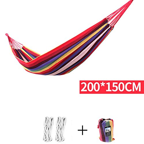MMM& Toile intérieure en plein air Thicker Bedroom Dormroom Child Swing Hamac de maillage de terrain (Couleur : Rouge, taille : 200 * 150cm)