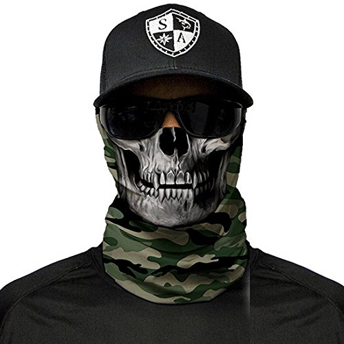 SA Fishing Company Face Shield Sturmhaube (Green Military Camo Skull)