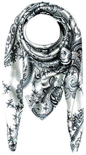 Lorenzo Cana Lorenzo Cana Luxus Damen Seidentuch aufwändig bedruckt Tuch schwarz weiss 100% Seide 100 cm x 100 cm Damentuch Schaltuch 89005