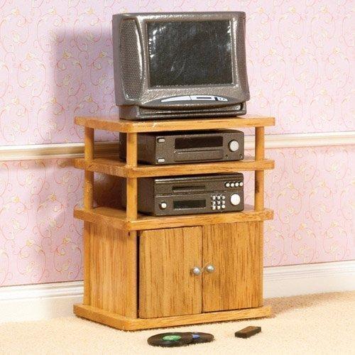 Dolls House 4438 HIFI-Set mit Fernseher und TV-Möbel 1:12 für Puppenhaus - Holz Audio - / Video-möbel