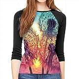 Henrnt T-Shirt Manica a 3/4 Donna Dandelion DIY Drawing Paint Print T-Shirt Casual Crew Neck Tops Tee