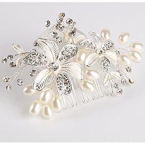 CYY Braut Kopfschmuck Legierung Perle Diamanten weißen Haarkamm Hochzeit/Party/Tanz Stirnband