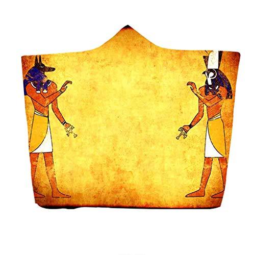Kostüm Ägyptische Mädchen Alte - Nickerchen Decke mit Kapuze Serria® Alter ägyptischer Pharao Druckdesign Plüschdecke Wearable Decke Umhang für Halloween Kostüm Requisiten