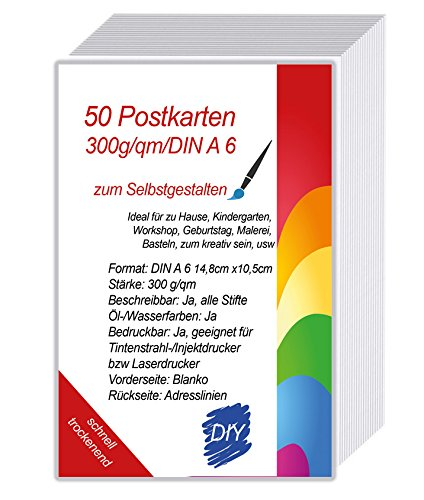 50 Blanko Postkarten beidseitig Weiss A6 - mit Linien Briefmarkenfeld Din A6 Format auf 300g Karton zum Selbst beschreiben DIY Karten auf stabilem Karton schnell trocknend zum Selbst Bedrucken
