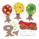 Kits de decoración de pompones de árboles de otoño en 3 diseños variados - Juego de manualidades creativas que los niños pueden decorar y exhibir (pack de 3).