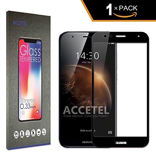 RE3O Huawei G8 Protector Cristal Templado Cobertura Completa - Accetel Protector de Pantalla Completa Full Screen Cover Vidrio Templado para Huawei G8 5,5'' Pulgadas - Negro