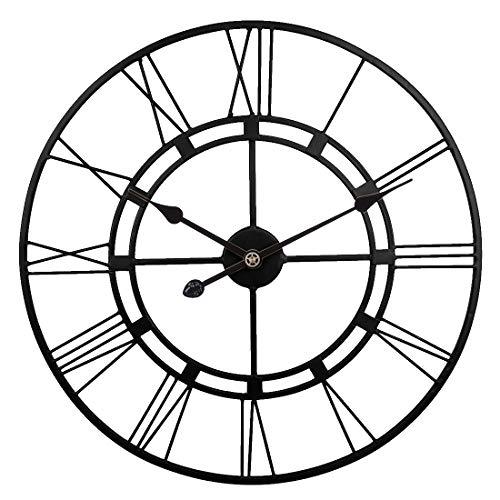 LVPY Wanduhr Vintage, Große Wohnzimmer XXL Antike Wanduhr 60cm Ø aus hochwertigem Metall Uhr Dekoration Wand für Küche Schlafzimmer - Schwarz (Uhr Vintage Wand)