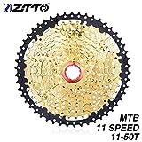 JullyeleDEgant ZTTO 11 Speed Kassette 11-50T Kompatibel Rennrad Shimano Sram System Hochfeste Stahlkettenräder Klapp Schwarz Gold Getriebe