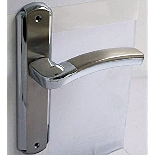Modern Designs Internal Door Chrome Brushed Steel Handles on Long Backplate (S629-255)