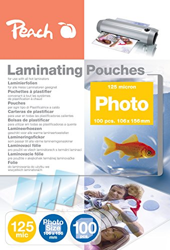 Peach Photo Laminating Pouches 106 x 156mm, 125 mic, S-PP525-19, 100-pack