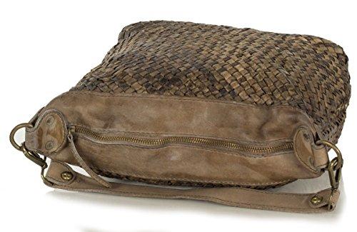 Dames italiennes sac de sac de paille en cuir souple vintage - taille moyenne (30 x 23 x 13 cm), Colour:Rouge (Bordeaux) Marron (Taupe)