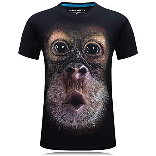 Men's Hip Hop Camiseta Animals 3D Printed T Shirt Black 2