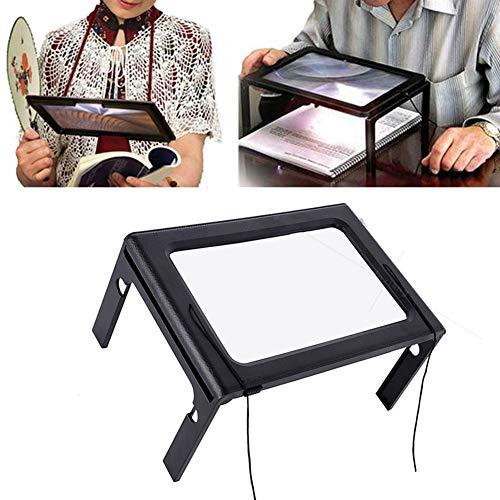 Yuguuigu Lupe, 5-Fache Lupe Acryllinse Volle Seite Hände Frei Lupe Gefalteter Desktop Mit 4 LED Licht Zum Lesen