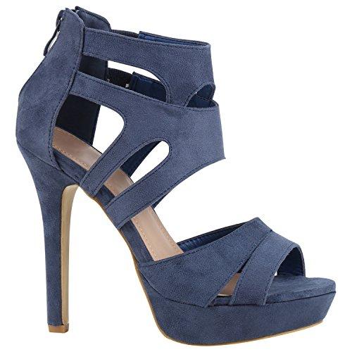 3150bf16ff8458 Damen Sandaletten High Heels Strass Plateau Stilettos Party Schuhe Sommer  Abiball Hochzeit Brautschuhe Blau Velours tuNA5B