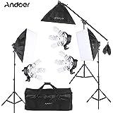 Andoer Studio Photo Video Softbox Kit d'éclairage (15 * 45W Ampoule / 3 * 5en1 Bulb Socket / 3 * Softbox / 3 * Lumière Support / 1 * cantilever bâton / 1 * Sac de transport)