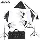 Andoer Kit Fotografíco de Estudio Video Softbox (15 * 45W Bombilla+ 3 * 5in1 Portalámparas+ 3 * Softbox+ 3 * Soprte de Luz+ 1 * Cantilever Stick+ 1 * Bolsa de Transporte)