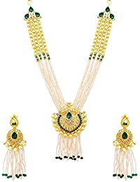Voylla Gold Plated With Gem Embellishment Necklace Set For Women