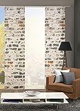 Home Fashion Set-Angebot Flächenvorhang Muro | wahlweise 3er-, 4er- oder 5er-Set bestehend aus Motiv- und Uni-Flächenvorhängen | Höhe 245 cm, Farbe: grau, Anzahl: (3)