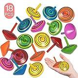Funmo - 18 Stück Kreisel aus Holz ,Spielzeug kreisel aus Holz,Spielzeugkreisel aus Holz Bunte,Holzkreisel,Farbeffekt beim Drehen,spielzeugkreisel Kinder!
