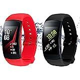 Straps für Samsung Gear Fit 2 Band / Gear Fit 2 Pro [2-Pack: Schwarz + Rot], Rukoy Ersatzbänder Zubehör für Samsung Gear Fit2 Pro SM-R365 / Gear Fit2 SM-R360 Smartwatch (5,9