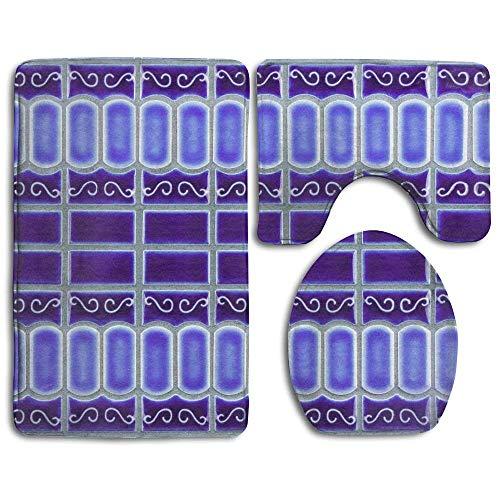 Kobalt Blau Porzellan Fliesen Mosaik Design Prints 3-teilig Anti-Rutsch Badezimmer Teppiche Wohnzimmer Anti Rutsch Pads Badteppich + Contour + WC-Deckelbezug