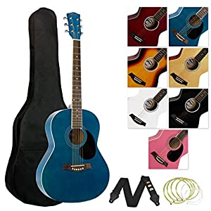 Tiger Full Size Acoustic Guitar for Beginners - Blue