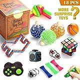 OMZGXGOD - 18 Stück Fidget Spielzeug Cube Angst Stressabbau Spielzeug Dekompression Spielzeug Würfel Sensorische Finger Spielzeug für Erwachsene und Kinder