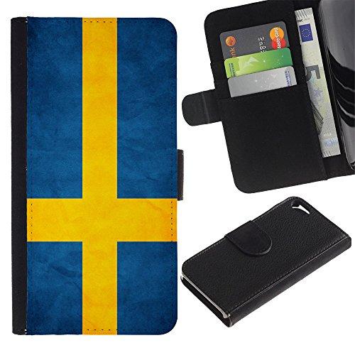 Graphic4You Vintage Uralt Flagge Von Schottland Schottisch Design Brieftasche Leder Hülle Case Schutzhülle für Apple iPhone SE / 5 / 5S Schweden Schwedisch