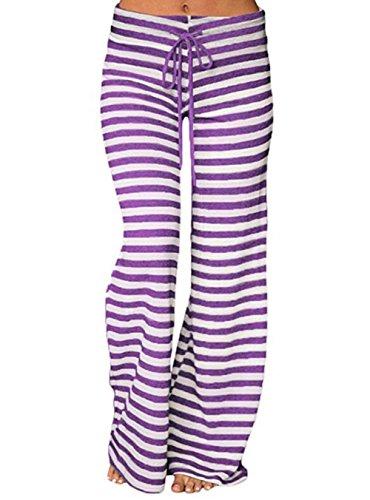 Melansay Frauen gestreiften Kordelzug breites Bein ausgestelltes Pilates Yoga Hosen beiläufige lose mittlere Taille Palazzo Hosen XXL, Violett (Petite Bootcut-hose)