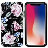 CarittiM iPhone XS Max Hülle, 2 in 1 Hard PC und Bumper Soft TPU Rückseite Cover Anti Rutsch Anti-Rutsch Fallwiderstand Ring Schnalle Dual Layer Cover