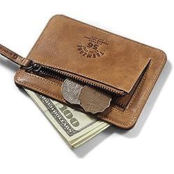 Teemzone Monedero Tarjetero de Piel Hombre Pequeño Cartera de Cremallera Monedas Bolsillo (Marrón)