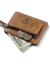 Teemzone Monedero Tarjetero de Piel Hombre Pequeño Cartera de Cremallera Monedas Bolsillo