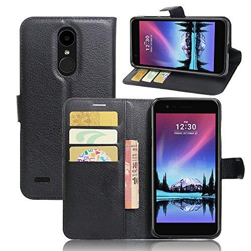 LG K10 2017 Cover - MYLB Portafoglio in pelle PREMIUM PU con Card Slot di caso di stile del libro Cover per LG K10 2017 smartphone (Nero)
